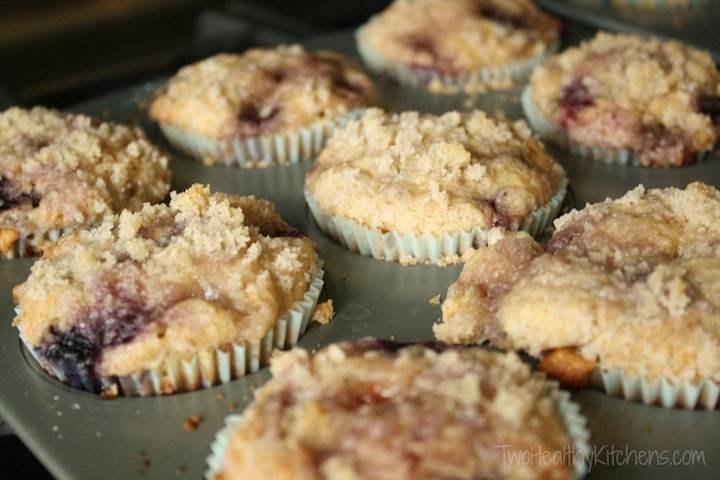 Blueberry White-Chocolate Muffins Recipe {www.TwoHealthyKitchens.com}