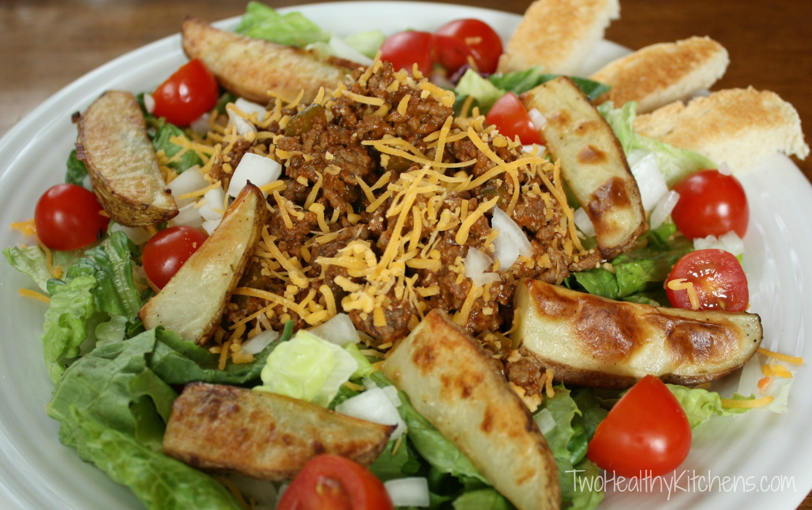 Cheeseburger Salad with Oven-Roasted Fries Recipe {www.TwoHealthyKitchens.com}