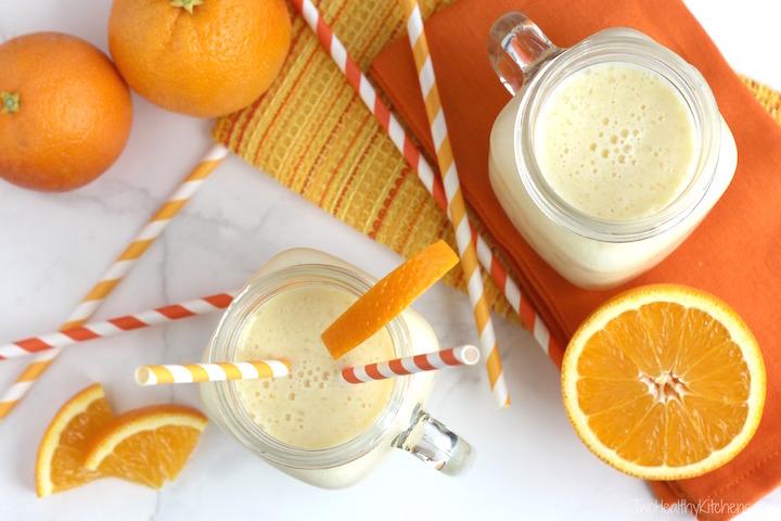 Pineapple Orange Creamsicle Smoothies Recipe {www.TwoHealthyKitchens.com}