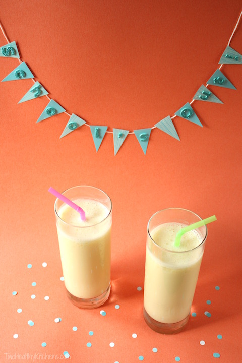Pineapple Orange Creamsicle Smoothies Recipe {www.TwoHealthyKitchens.com}