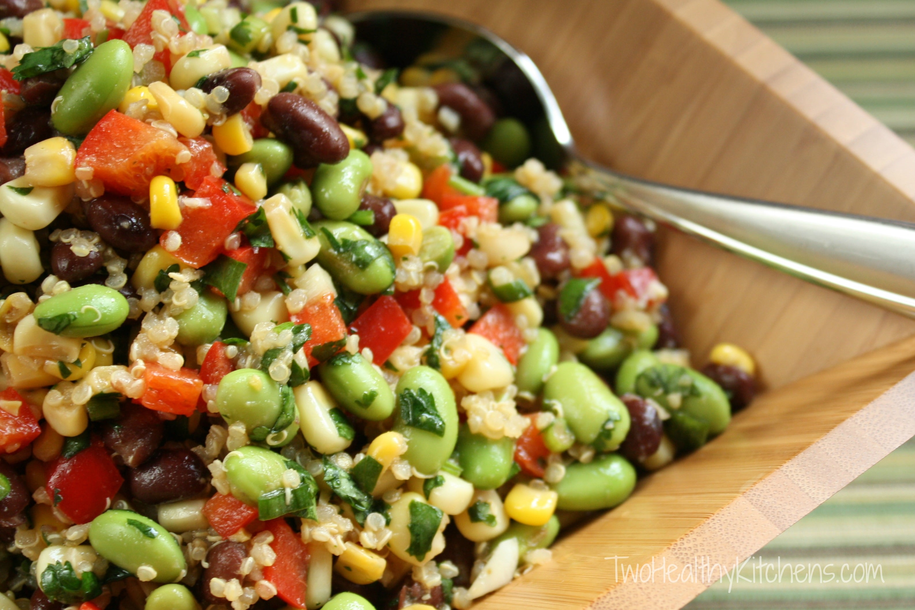 Corn, Edamame and Quinoa Salad with Lemon-Dijon Vinaigrette Recipe {www.TwoHealthyKitchens.com}