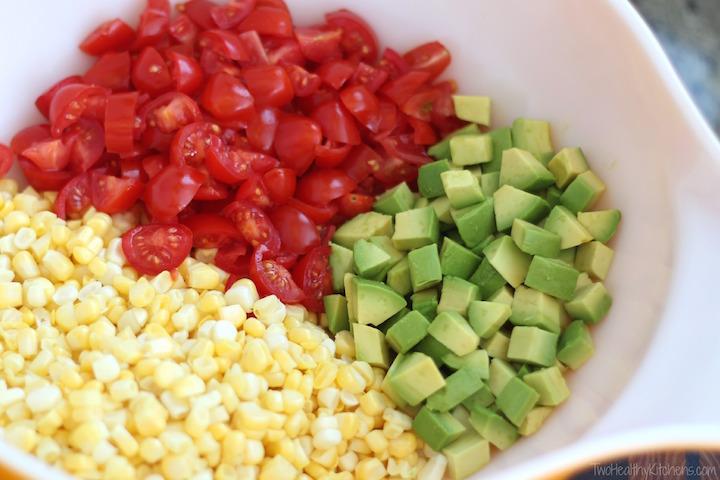 No-Cook Fresh Corn, Tomato and Avocado Salad Recipe {Two Healthy Kitchens}