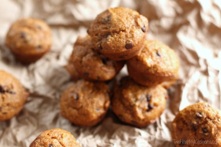 Pumpkin-Chocolate Chip Muffins with Caramel Swirl Recipe {www.TwoHealthyKitchens.com}