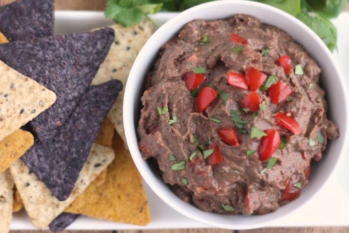 Mexican Fiesta Black Bean Hummus Recipe {www.TwoHealthyKitchens.com}