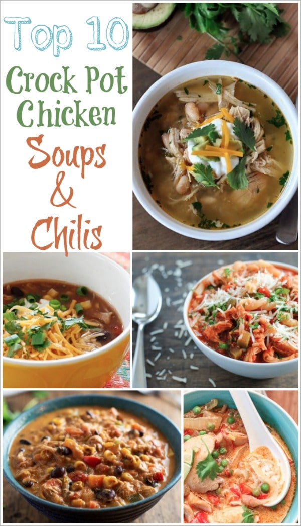 Top 10 Healthy Crock-Pot Chicken Soups and Chilis Recipes {www.TwoHealthyKitchens.com}
