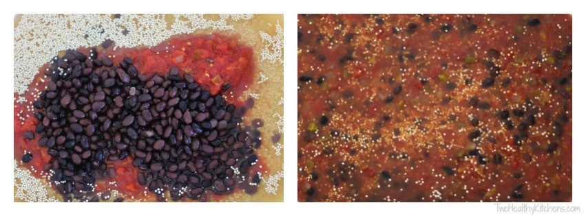 Chicken Fajita Quinoa Bake (No Pre-Cooking!) {from Two Healthy Kitchens}