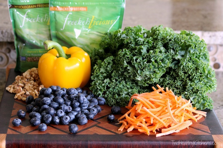 Kale Chopped Salad with Berries and Freekeh (or Quinoa) Recipe {Two Healthy Kitchens}