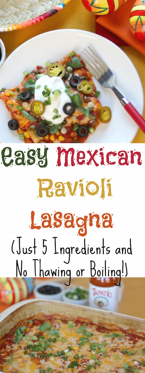 Easy Mexican Ravioli Lasagna Recipe (Just 5 Ingredients and No Thawing or Boiling!) {www.TwoHealthyKitchens.com}