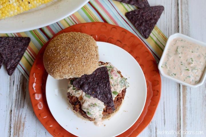 Tex-Mex Taco Burgers with Creamy Salsa Dressing Recipe {www.TwoHealthyKitchens.com}