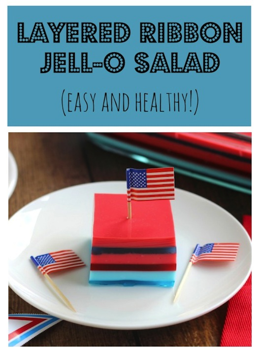 Layered Ribbon Jell-O Salad Recipe {www.TwoHealthyKitchens.com}