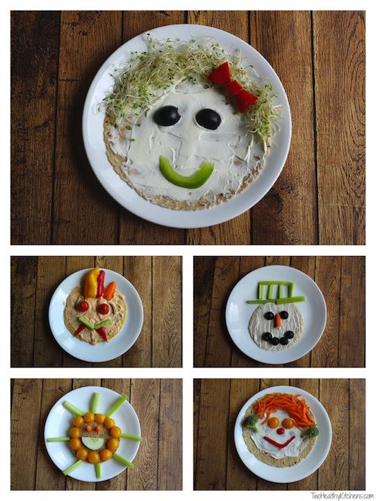 """Veggie Faces"" No-Bake Vegetable Pizzas and Wraps Recipe {www.TwoHealthyKitchens.com}"