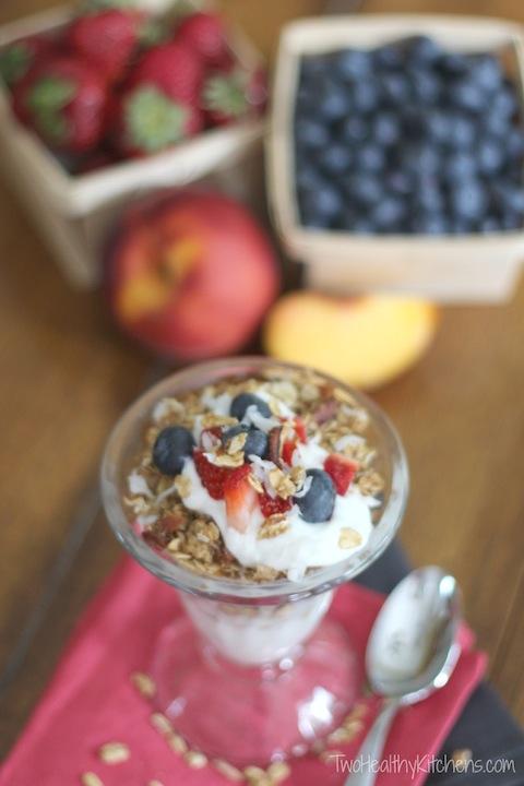 Healthy Yogurt Parfait Party Snacks Recipe {TwoHealthyKitchens.com}