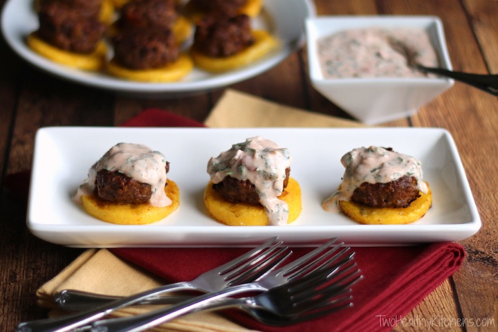 Taco Burger Sliders on Polenta Recipe {www.TwoHealthyKitchens.com}