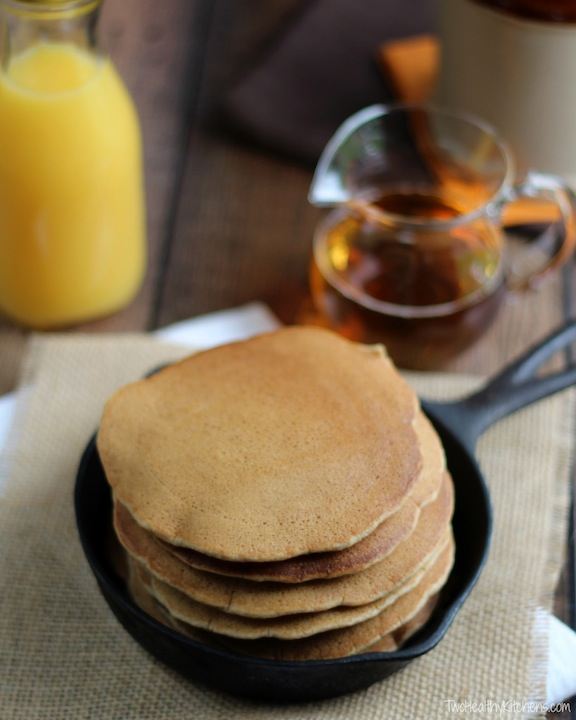 The Secrets to Perfect Whole Wheat Pancakes Recipe {www.TwoHealthyKitchens.com}