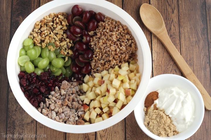 Hearty Fruit and Nut Salad with Greek Yogurt Dressing Recipe {www.TwoHealthyKitchens.com}