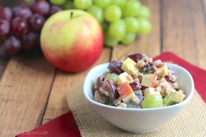 Hearty Fruit and Nut Salad with Greek Yogurt Dressing Recipe {www.TwoHealthyKitchens.com}