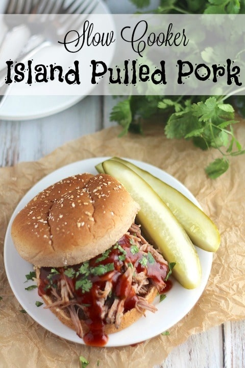 Slow Cooker Island Pulled Pork Recipe {www.TwoHealthyKitchens.com}