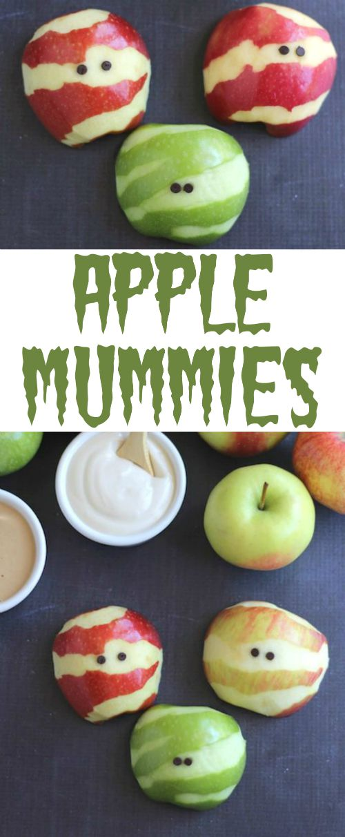 Apple Mummies Recipe … A Healthy Halloween Treat {www.TwoHealthyKitchens.com}