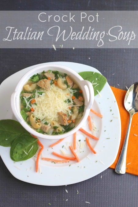 Crock Pot Italian Wedding Soup Recipe {www.TwoHealthyKitchens.com}