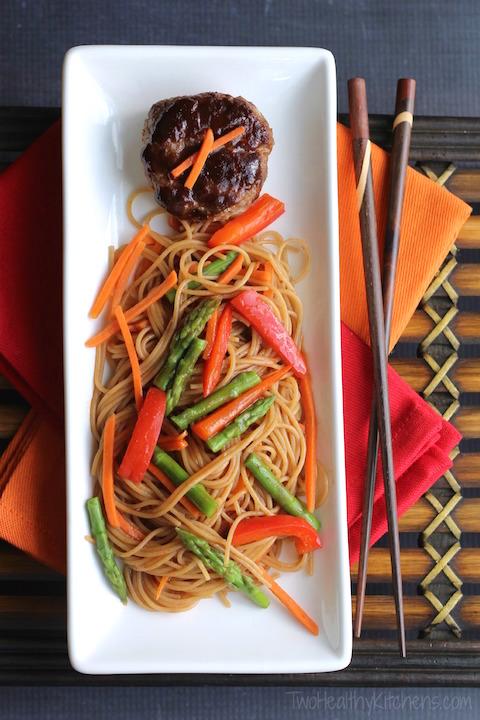"Hoisin-Glazed Mini Meatloaf ""Muffins"" Over Asian Noodles and Vegetables Recipe {www.TwoHealthyKitchens.com}"