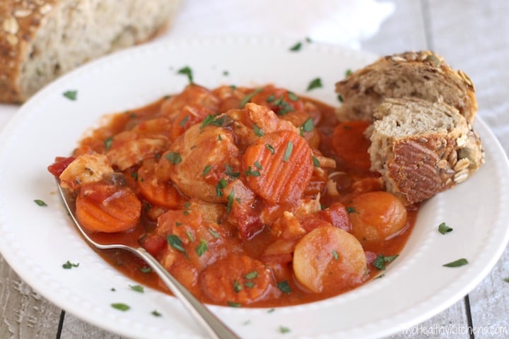 Creamy Crock Pot Chicken Stew with Potatoes, Carrots and Tomatoes Recipe {www.TwoHealthyKitchens.com}