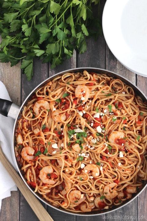 Super Fast Herbed Mediterranean Shrimp Pasta