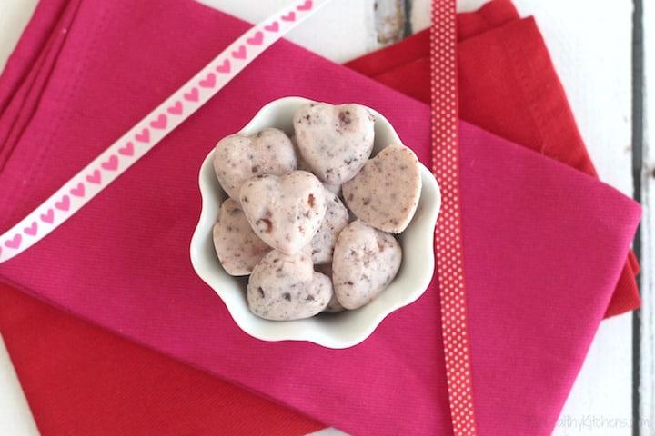 "3-Ingredient ""Chocolate Covered Strawberry"" Frozen Greek Yogurt Bites Recipe {www.TwoHealthyKitchens.com}"