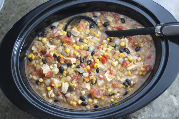 Crock Pot Southwestern Corn Chowder with Chicken and Green Chiles Recipe {www.TwoHealthyKitchens.com}