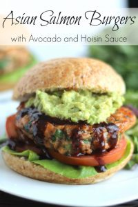 Asian Salmon Burgers with Avocado and Hoisin Sauce Recipe (Gluten-Free Option, Too!) {www.TwoHealthyKitchens.com}