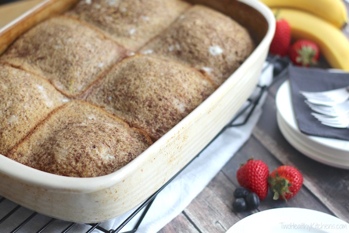 Stuffed French Toast Breakfast Casserole with Strawberries and Cream Topping Recipe {www.TwoHealthyKitchens.com}