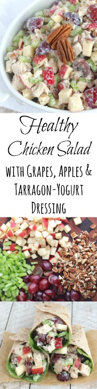 Healthy Chicken Salad with Grapes, Apples and Tarragon-Yogurt Dressing Recipe {www.TwoHealthyKitchens.com}