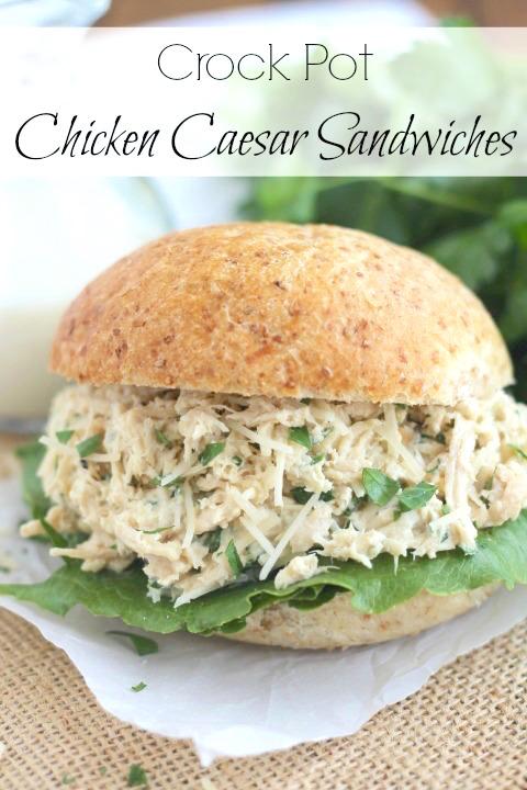 Crock Pot Chicken Caesar Sandwiches Recipe {Two Healthy Kitchens}