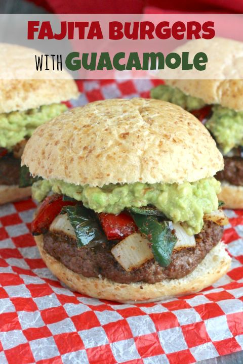 Easy Grilled Fajita Burgers with Guacamole Recipe {www.TwoHealthyKitchens.com}