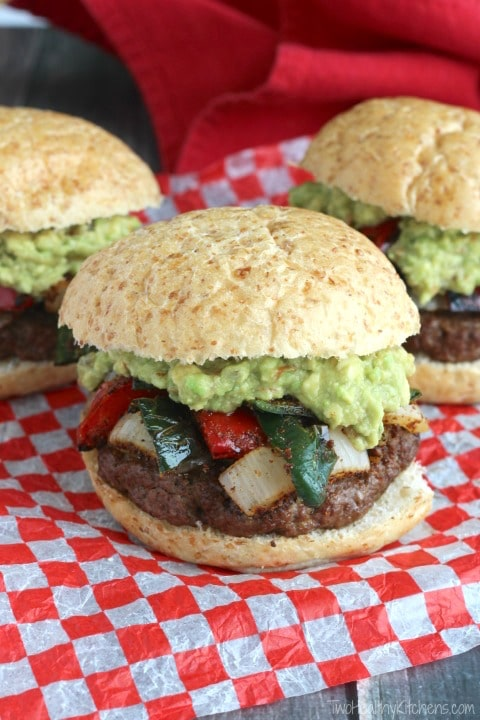 Easy Grilled Fajita Burgers with Guacamole | Two Healthy Kitchens