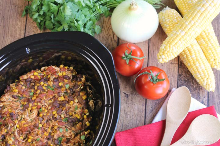Easy Crock Pot Chicken Burrito Bowls Recipe {www.TwoHealthyKitchens.com}