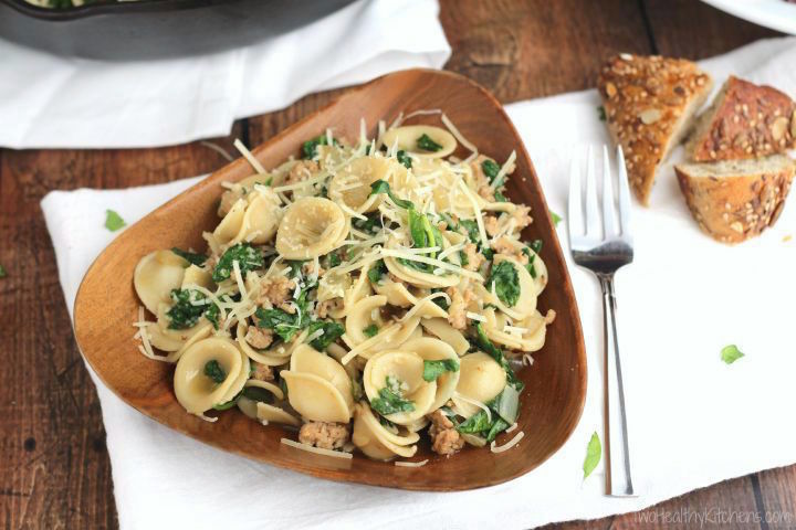Orecchiette With Sausage And Spinach Recipe Www Twohealthykitchens Com