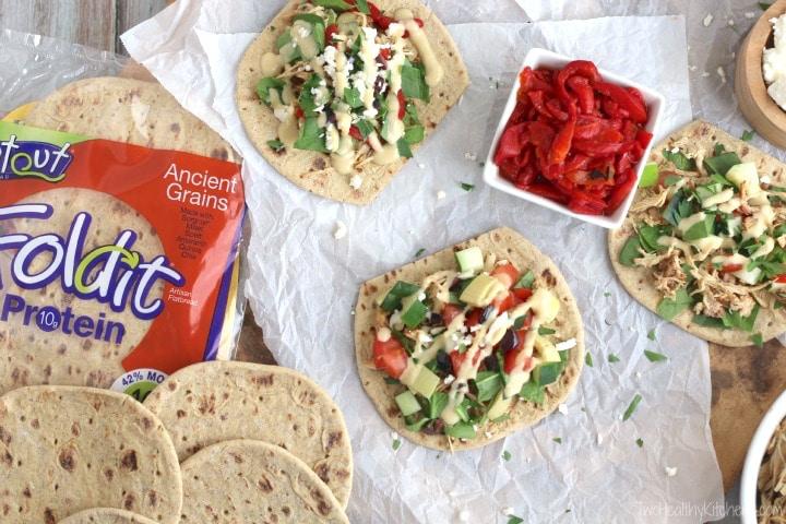 Mediterranean Crock Pot Chicken Taco Bar Recipe {www.TwoHealthyKitchens.com}