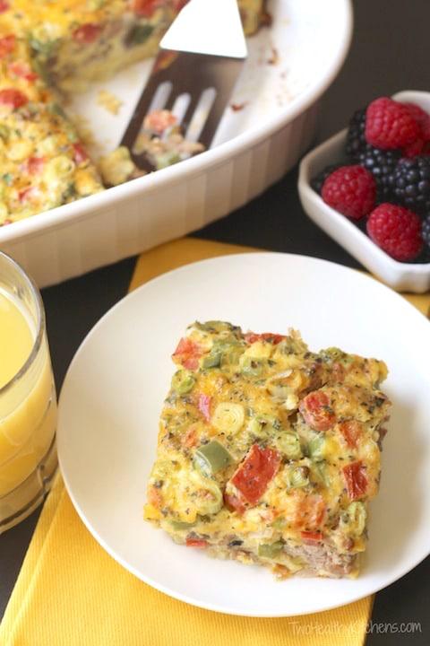 Farmers' Market Overnight Breakfast Egg Casserole {www.TwoHealthyKitchens.com}