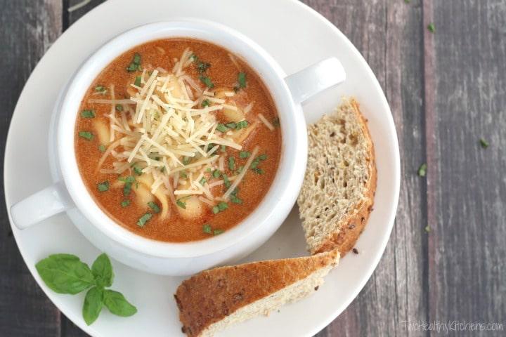 Tomato Basil Soup with Tortellini Recipe {www.TwoHealthyKitchens.com}