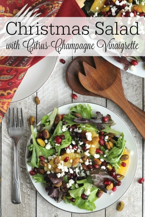 Christmas Salad with Citrus-Champagne Vinaigrette Recipe {www.TwoHealthyKitchens.com}