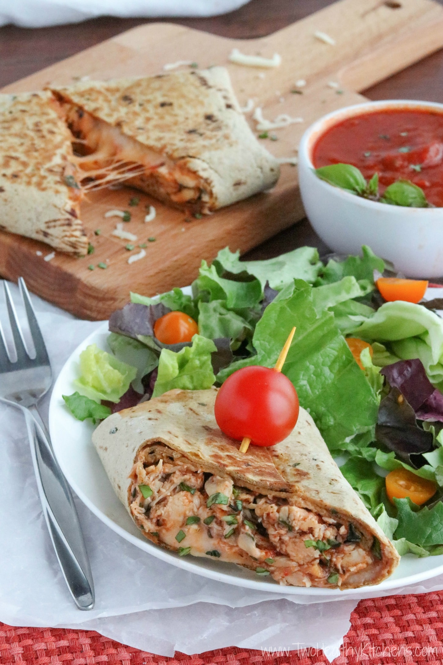 Chicken Parmesan Wraps AD {www.TwoHealthyKitchens.com}