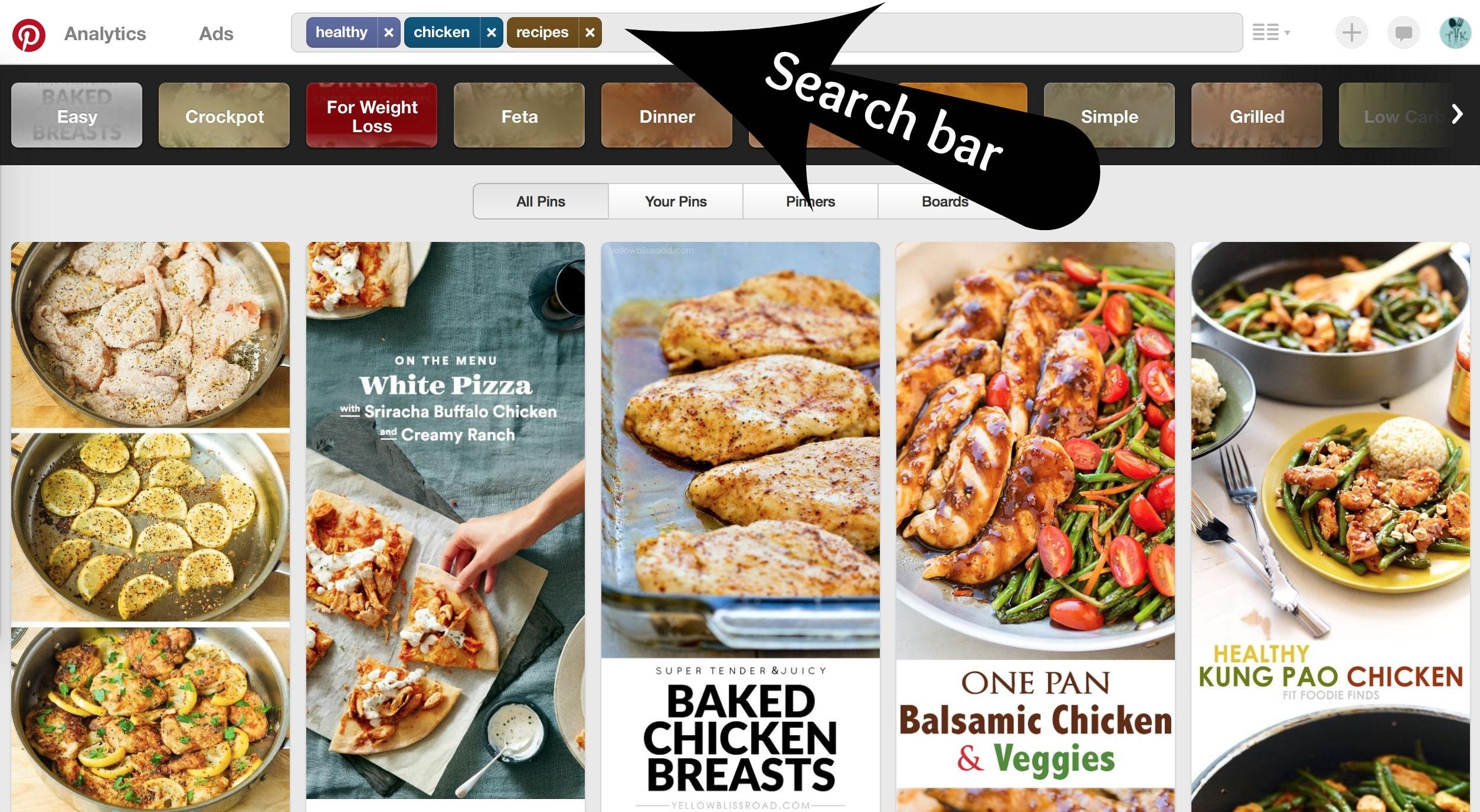 Pinterest search bar
