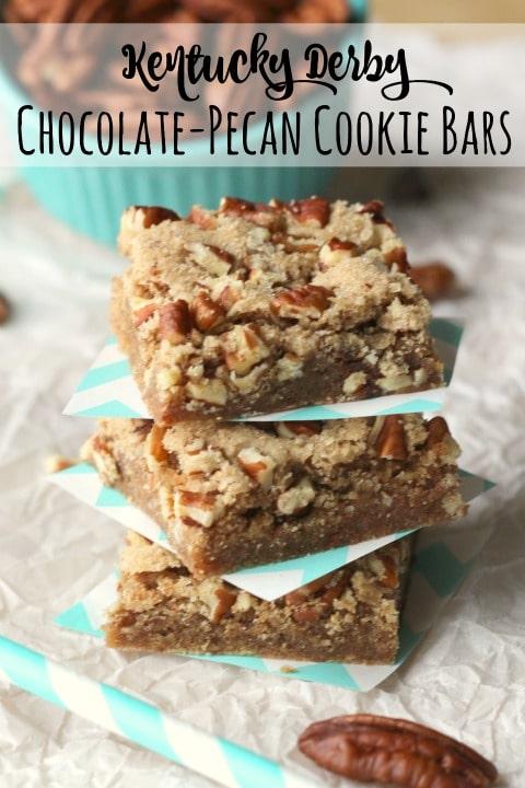 Kentucky Derby Chocolate-Pecan Cookie Bars Recipe {www.TwoHealthyKitchens.com}