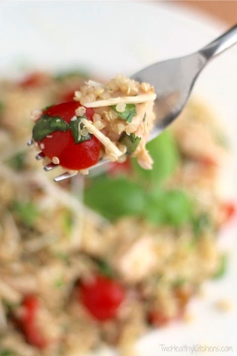 Easy, Healthy Chicken Salad with Quinoa, Tomatoes, Lemon and Basil Recipe {www.TwoHealthyKitchens.com}