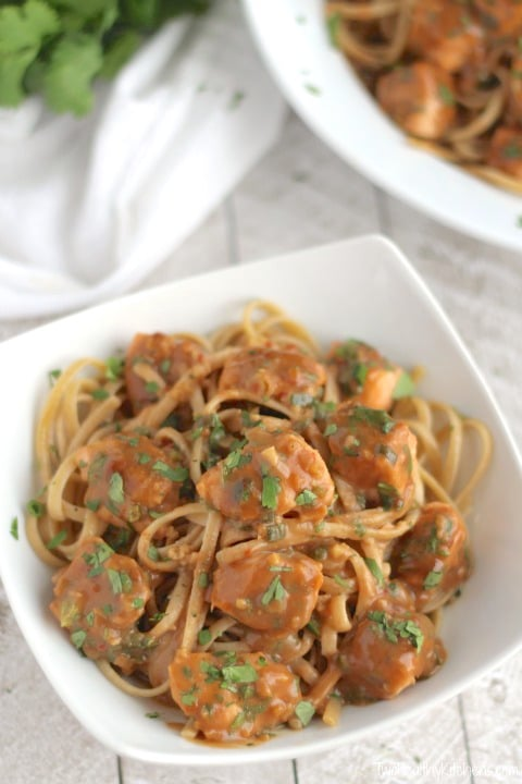 Super-Fast Asian Salmon Pasta with Easy Peanut Sauce Recipe {www.TwoHealthyKitchens.com}