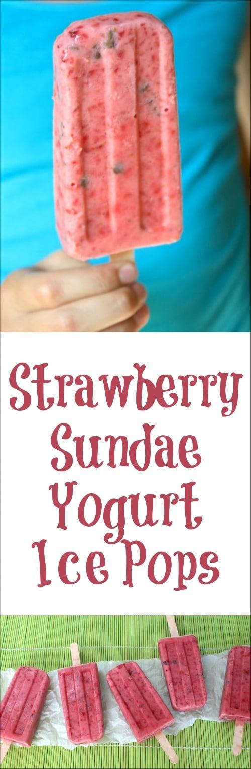 Strawberry Sundae Yogurt Ice Pops Recipe {www.TwoHealthyKitchens.com}