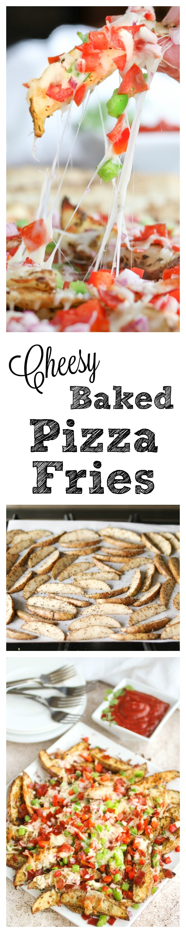 Cheesy Oven-Baked Pizza Fries ~ These Oven-Baked Pizza Fries are so easy to make, and always a total hit! Loaded with cheesy pizza flavors for a deliciously fun twist! A great snack or appetizer … and perfect for game day! {www.TwoHealthyKitchens.com}