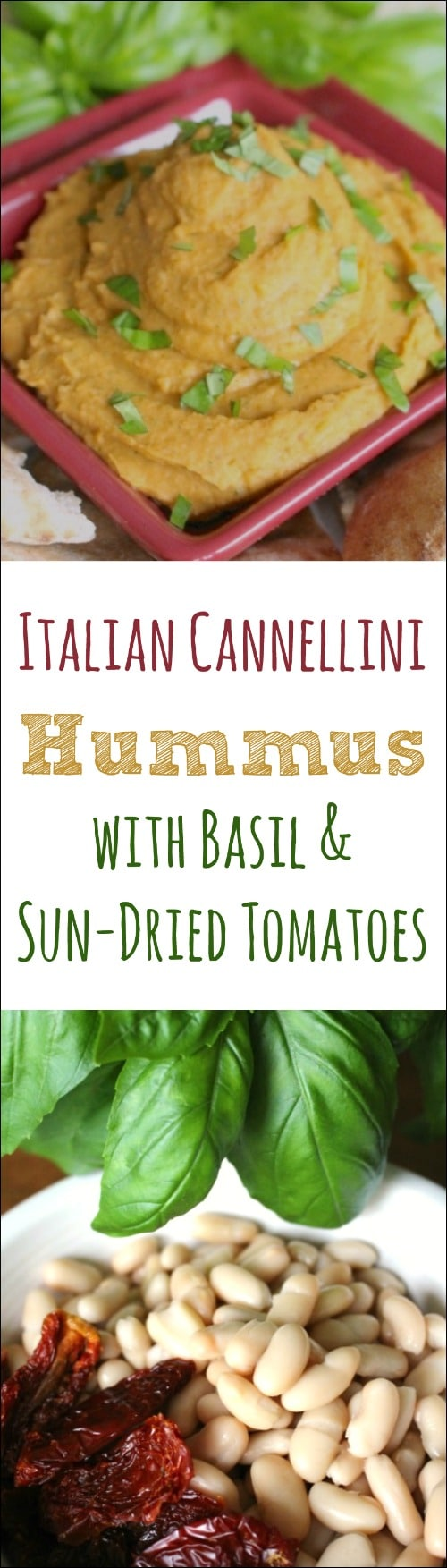 Italian Cannellini Hummus with Basil and Sun-Dried Tomatoes Recipe {www.TwoHealthyKitchens.com}