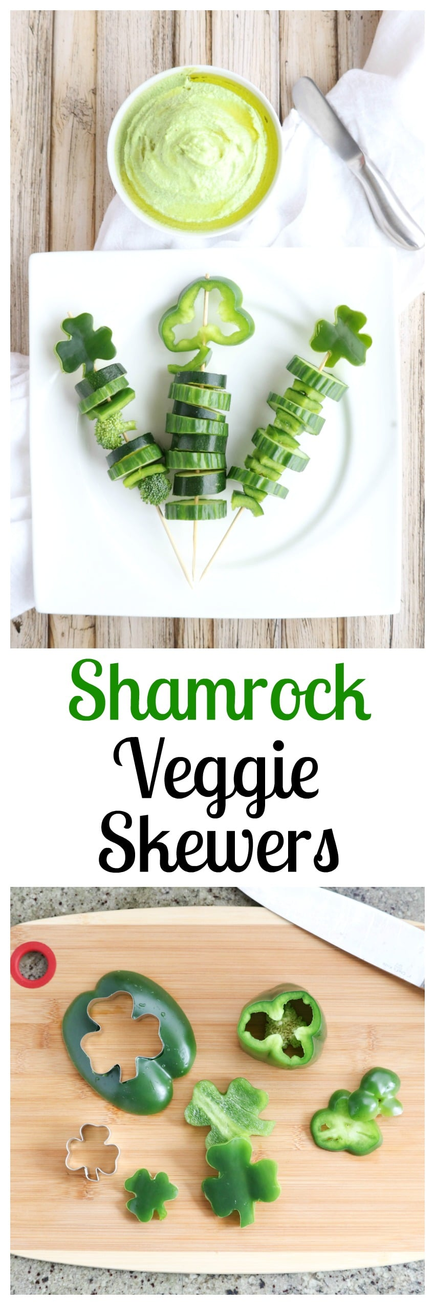 These easy Shamrock Veggie Skewers are a perfect St. Patrick's Day appetizer for parties - and a fun, healthy after-school snack!   www.TwoHealthyKitchens.com