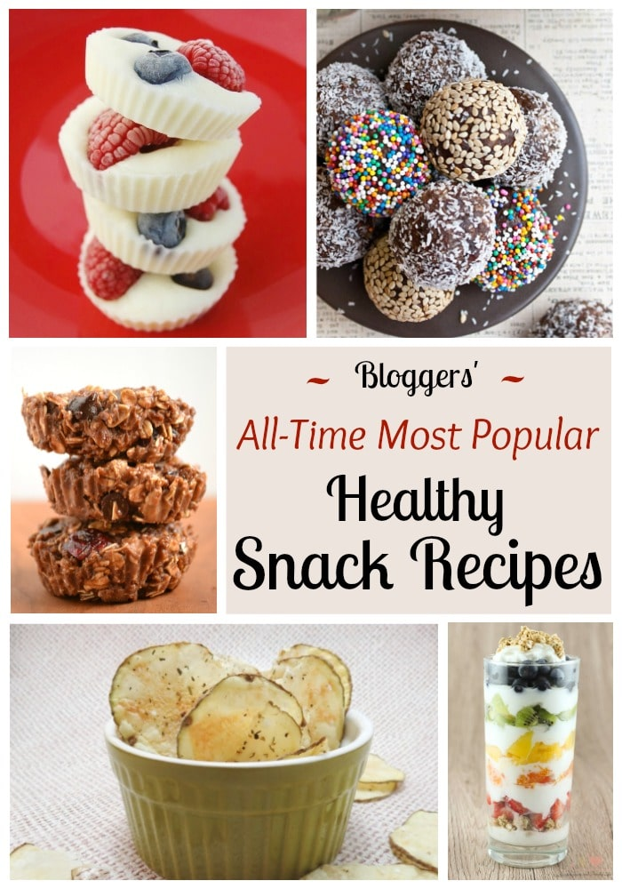 Don't miss these #1 most popular, healthy snack ideas from top bloggers! These quick, easy, healthy snacks are so super-popular for a reason! | www.TwoHealthyKitchens.com